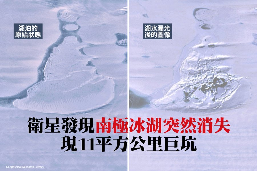 衛星發現南極冰湖突然消失 現11平方公里巨坑