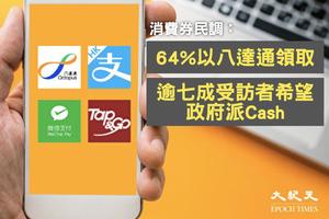 中大民調:64%以八達通領取電子消費券 73%指希望下次派Cash