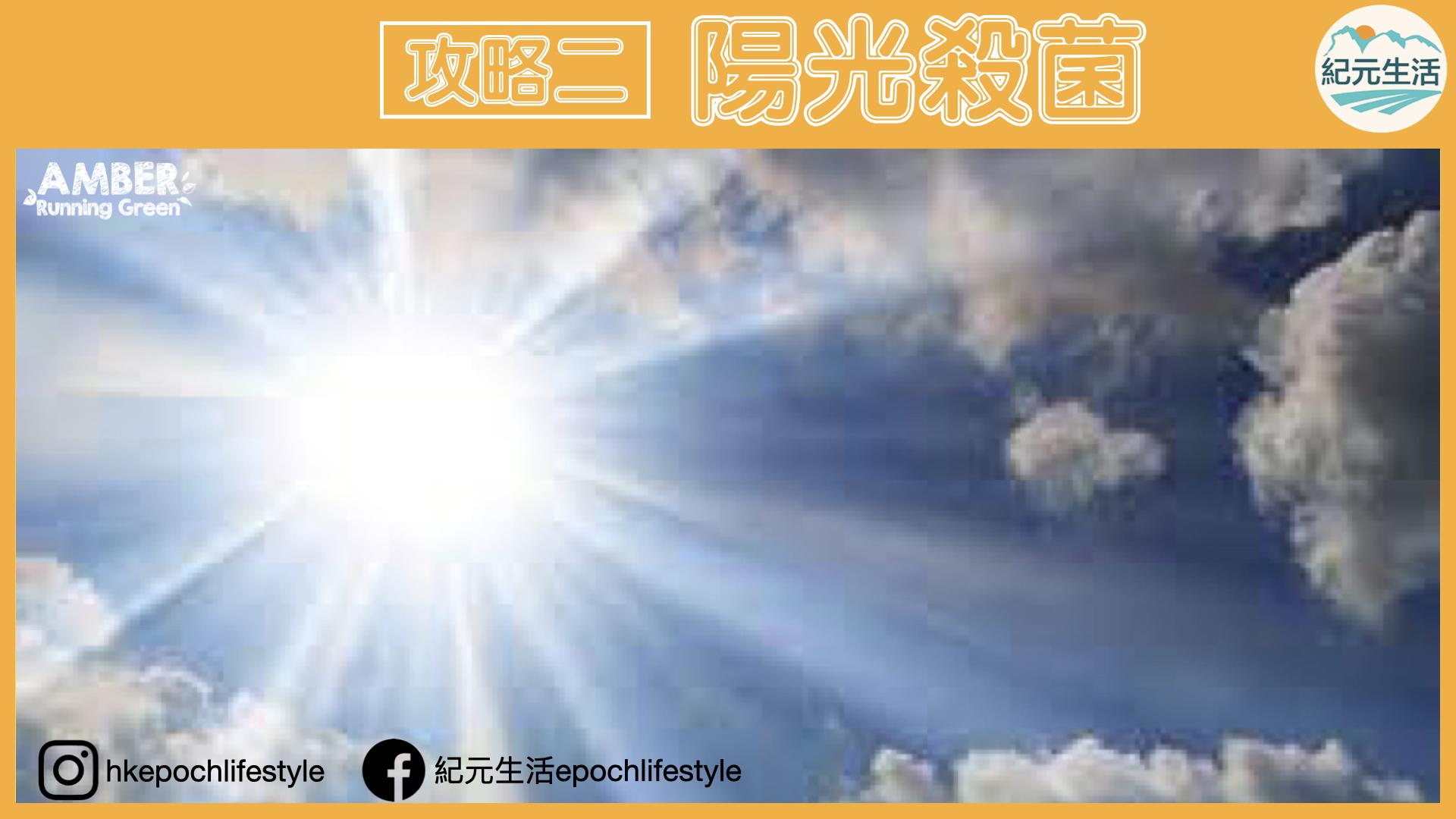 口罩放置在空氣流通、高溫下、太陽下24小時照射,就可讓口罩達到殺菌效果。