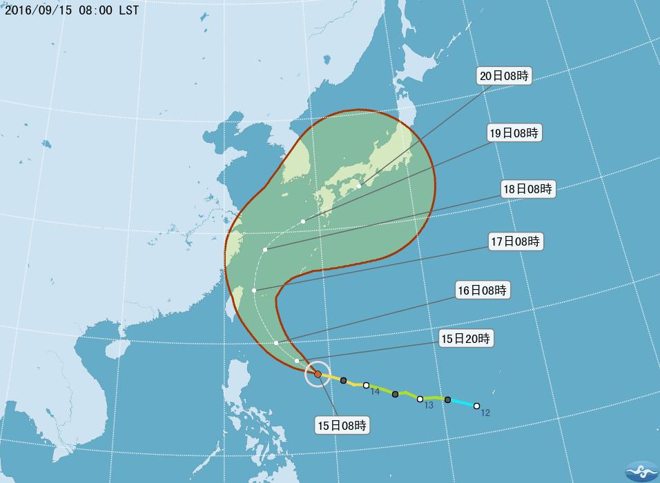 預計馬勒卡會在未來一兩天橫過台灣以東海域,並將於17日日間時段最接近台灣東部的宜蘭縣和新北市,屆時將為該地區帶來廣泛暴雨天氣。(台灣中央氣象局網頁)