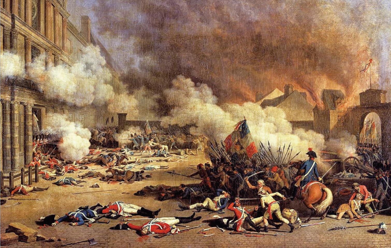 1789年爆發的法國大革命推翻了傳統的君主制,顛覆了傳統的社會秩序,更開始了一場暴民的狂歡。圖為描繪1792年8月10日,巴黎市民攻下王宮。(公有領域)