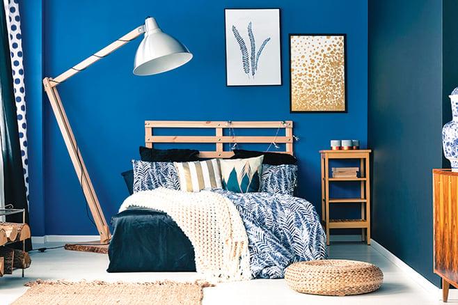 運用各種藍色,達成一致的整體設計。