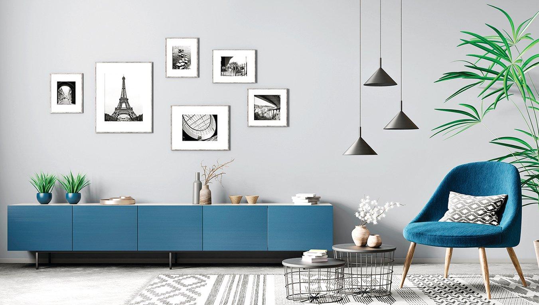 藍與灰是協調的中性色調。