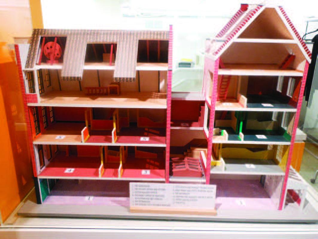 弗蘭克一家藏身的大樓「後宅」內部結構模型。( 維基共享資源 )