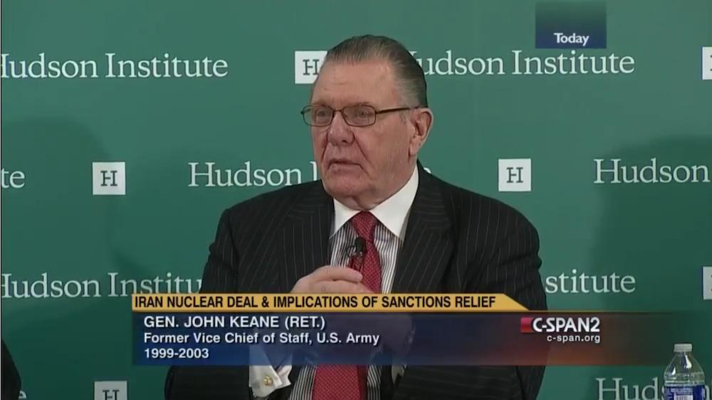 圖為前美國陸軍副參謀長、戰略分析家基恩(John Keane)在哈德遜研究所發言。(圖片來源:影片截圖)