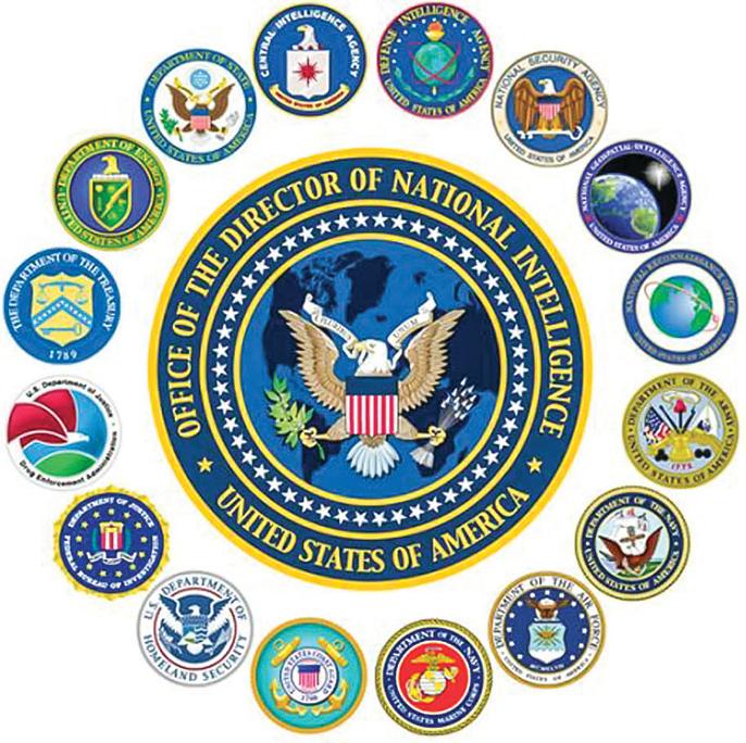 前美國資深中共間諜研究員說:在美國所有的17個情報機構當中,中共間諜至少有幾十個。圖為美國17個情報機構的標誌。(網絡圖片)