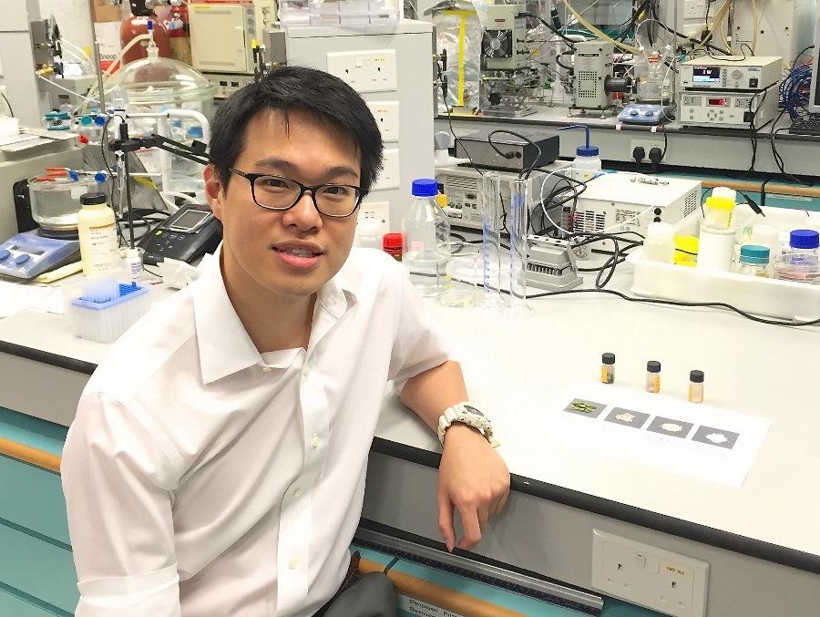 能源及環境學院副教授張謂揚博士研發人造樹葉改善溫室效應。