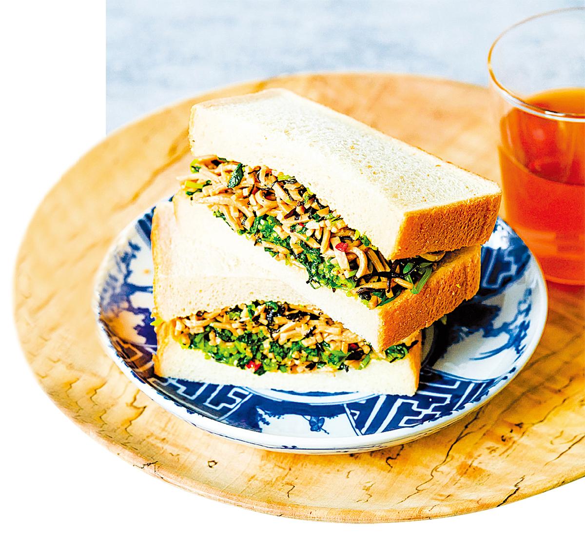 羊棲菜豆苗日式炒麵三文治,健康又美味!。