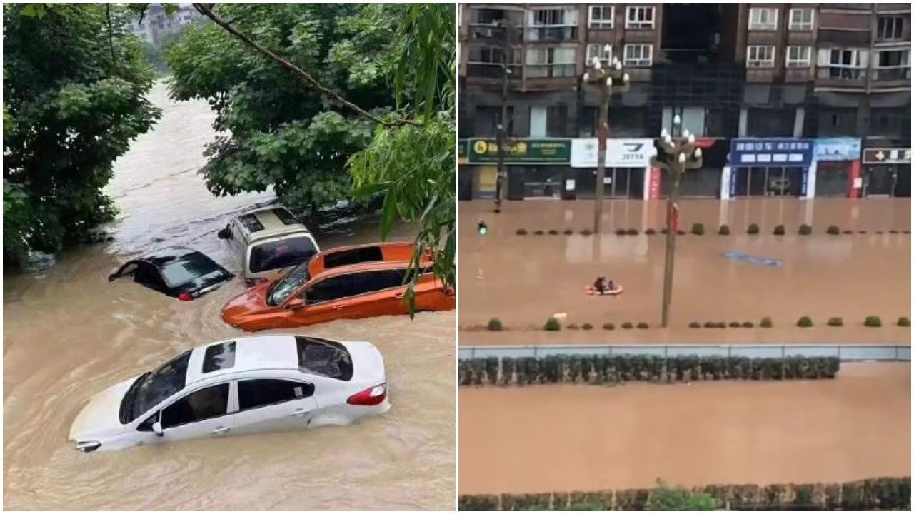 中國大陸多個省市近日出現極端天氣,北京交通混亂,學校停課。圖為四川省巴中市普降大暴雨,導致城市內澇嚴重,河道氾濫。(微博圖片)