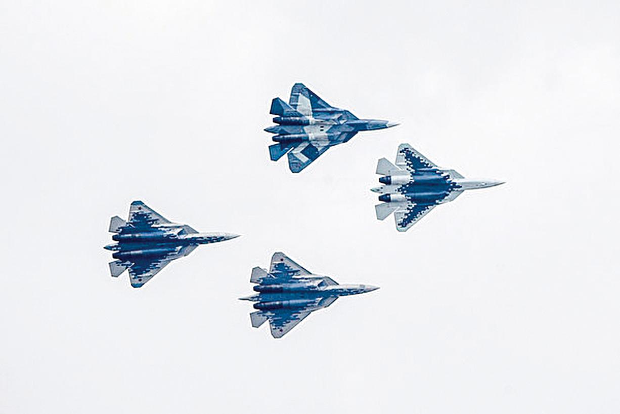 Su-57。(ALEXANDER NEMENOV/AFP via Getty Images)