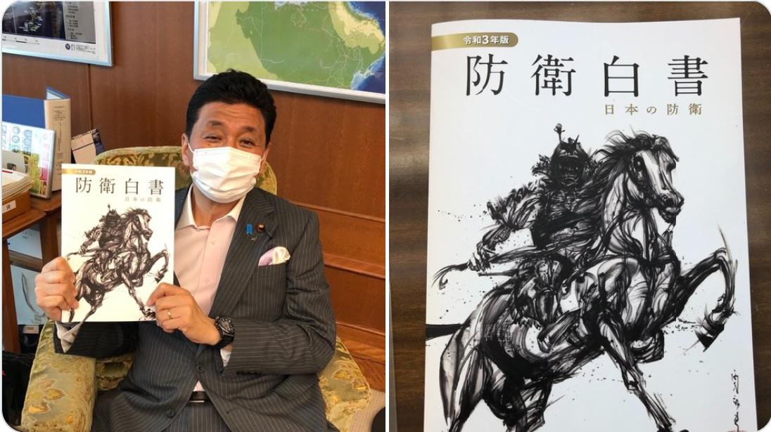 7月13日,日本公佈2021版防衛白皮書,首指台灣局勢對日本安全保障十分重要。專家指,中共武力攻台肯定難以為繼。圖為日本防衛大臣岸信夫。(圖源翻拍岸信夫推特)