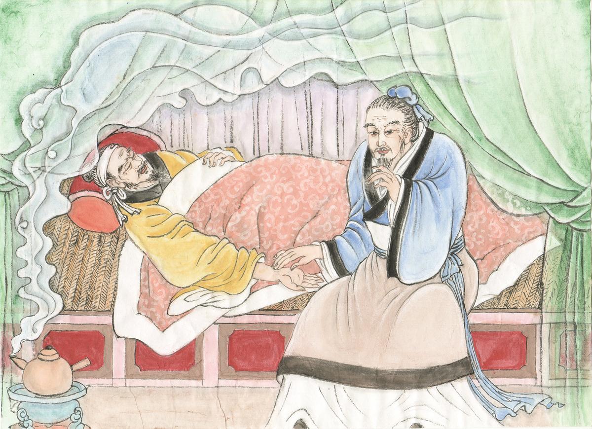 古代中醫師把脈診治。 (繪圖:古瑞珍)
