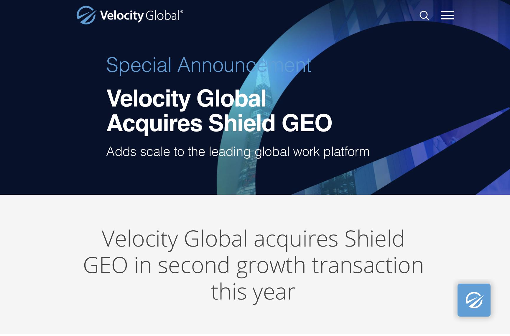 全球名義僱主Velocity Global昨(7月16日)宣佈繼4月收購iWorkGlobal後,再下一城完成併入Shield GEO。(Velocity Global)