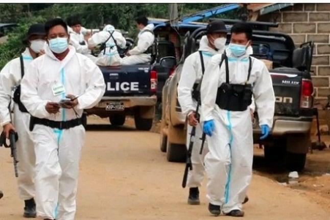 緬甸疫情嚴重,果敢軍人負擔起防疫工作。(受訪人提供)