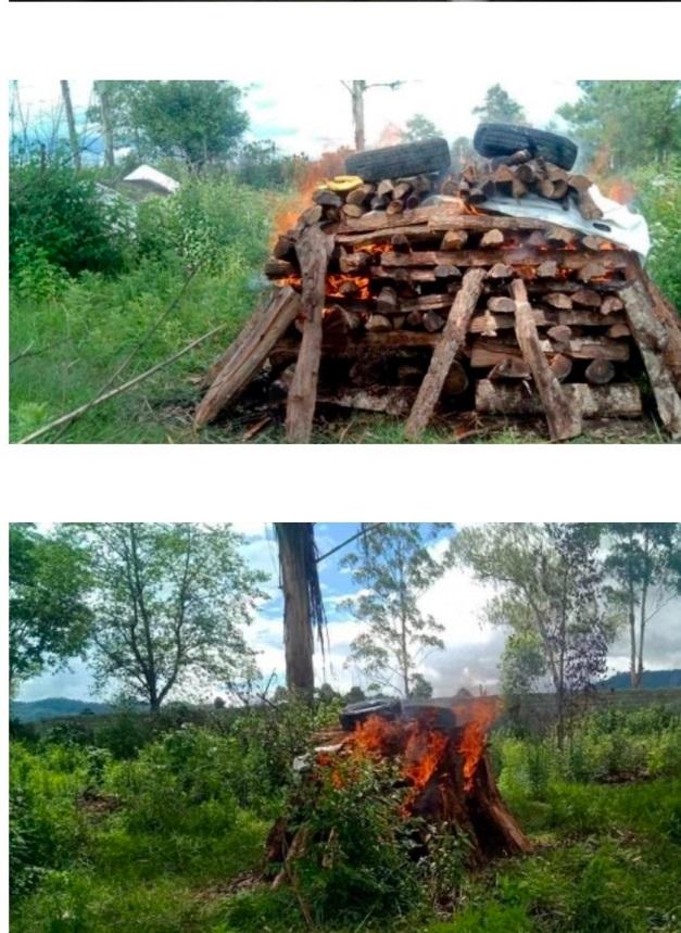 仰光火化場煉屍爐不夠用,民眾只能自己找地方焚燒屍體。(受訪者提供)
