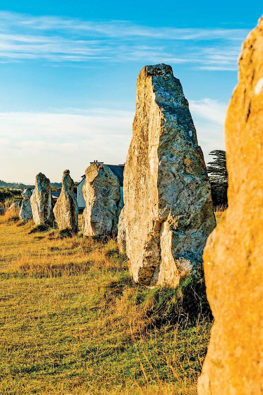 法國布列塔尼半島(Brittany)的卡奈克巨石林(Carnac stones)有超過3,000塊史前巨石列隊成行,像士兵一樣排排站。(makasana photo/Shutterstock)
