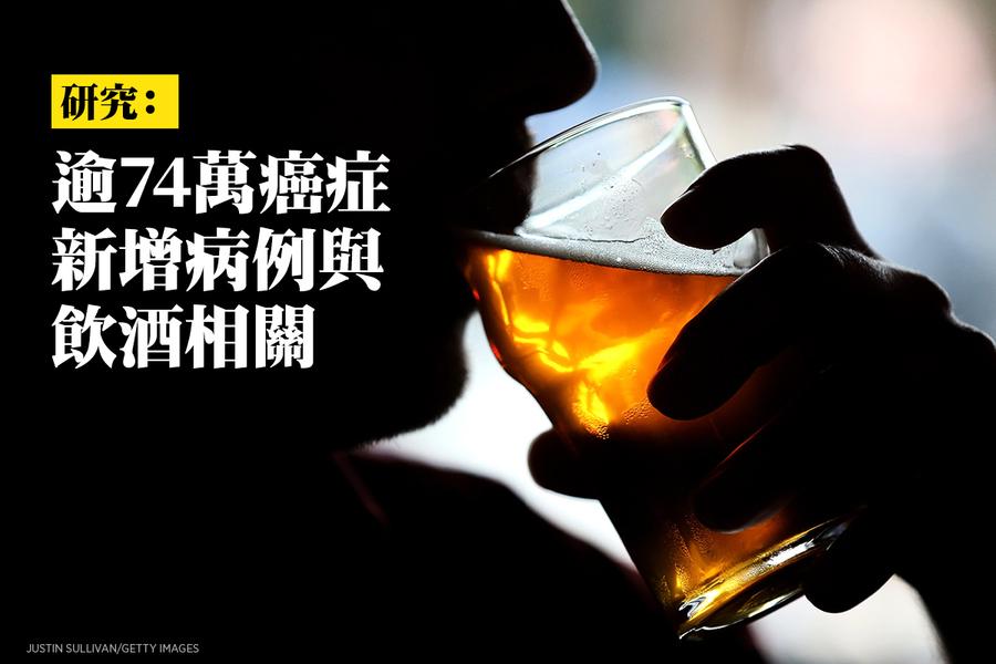 研究:逾74萬癌症新增病例與飲酒相關