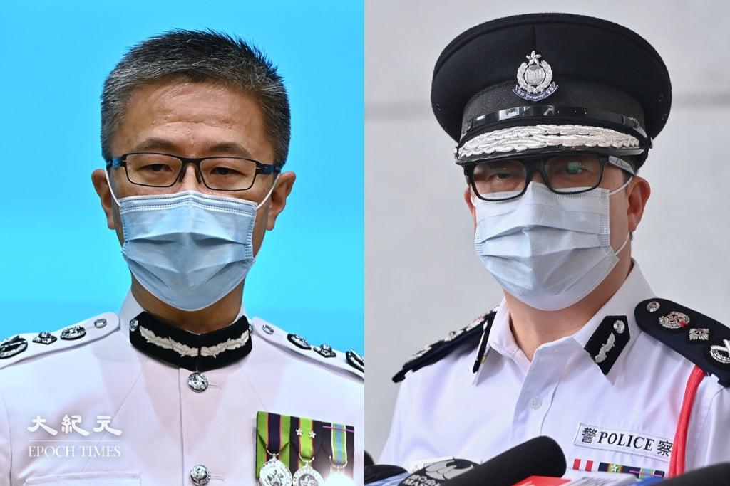 今日(21日)是7.21事件兩周年,當晚負責指揮的鄧炳強(右)晉升為保安局局長,而蕭澤頤(左)連升兩級成為警務處處長。(大紀元製圖)