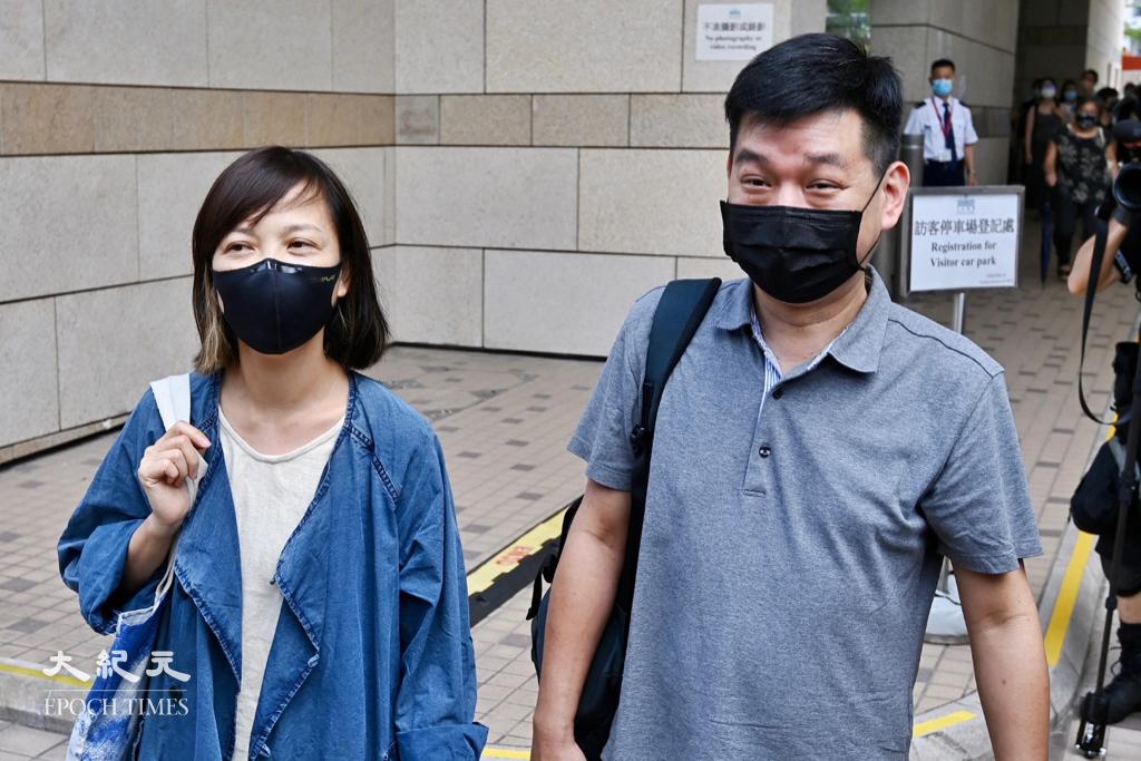 《蘋果日報》前副社長陳沛敏(左)及前主筆馮偉光今(21日)遭撤銷保釋再度被捕,而前執行總編輯林文宗(右)今早被警方國安處拘捕。資料圖片。(宋碧龍/大紀元)