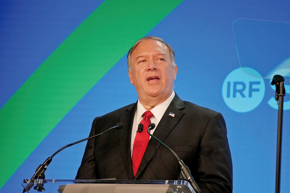 7月14日,國際宗教自由聯盟(IRF)舉行的年度國際宗教自由峰會上,前美國國務卿蓬佩奧出席發言。(李辰/大紀元)