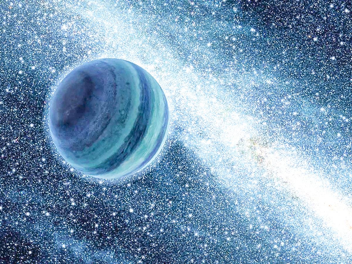 與木星大小相似、在宇宙空間中四處遊蕩的行星概念圖。(NASA)