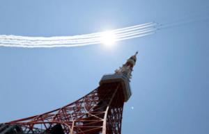 日本「藍色動力」為東京奧運會開幕式排練飛行 繪奧運標誌(多圖)