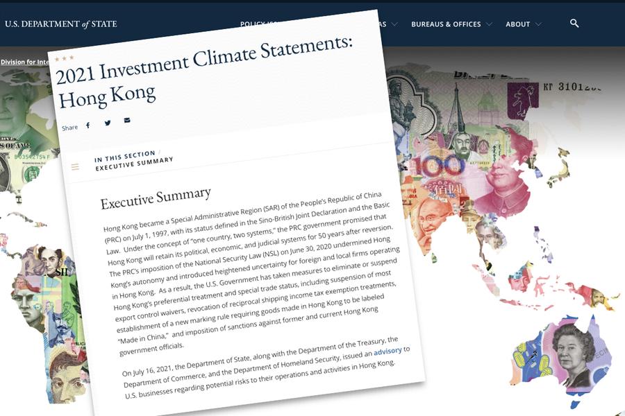 美公佈全球投資環境報告:中共強推國安法 增加在港投資疑慮