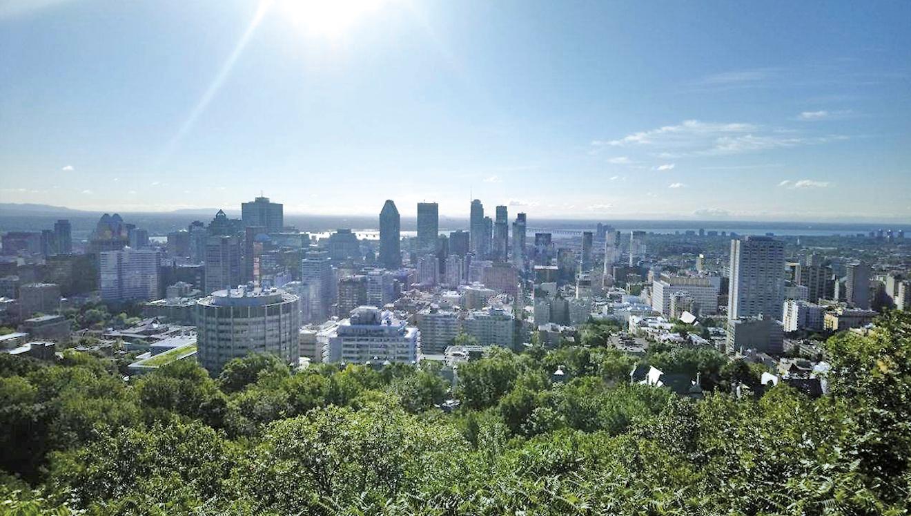 Navi現時居於滿地可,學習法文成首要目標。圖為滿地可皇家山(Mont Royal)望向市中心的天際線。(受訪者提供)