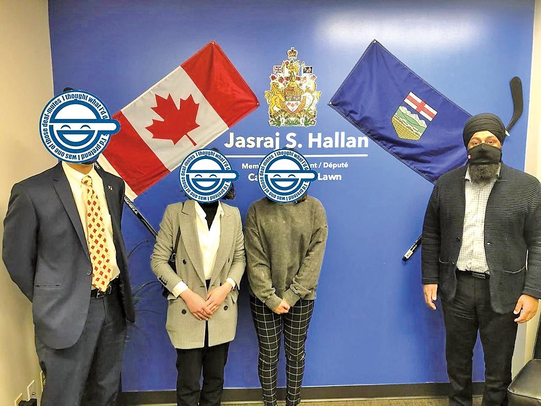加拿大港人組織「新香港文化協會」聯同流亡人士會見國會議員賀蘭(右一)。(新香港文化協會提供)