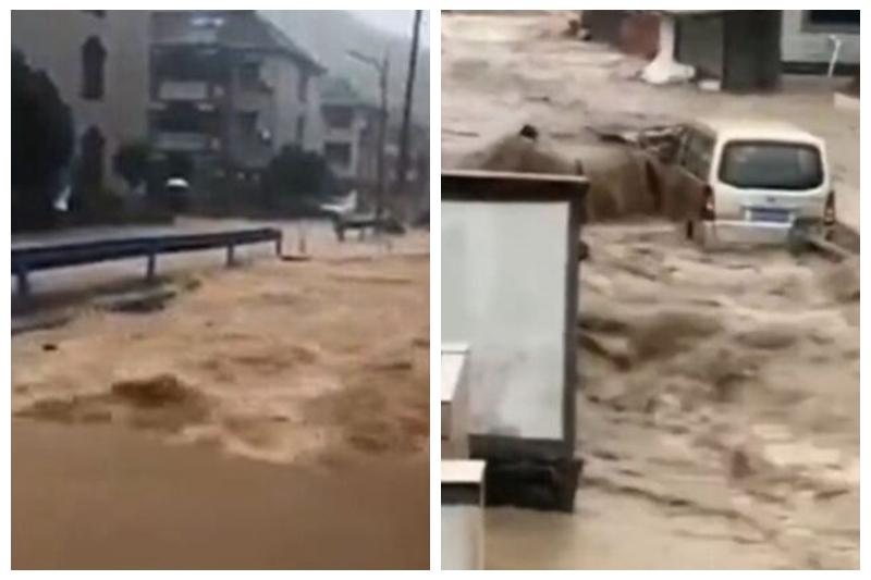 受颱風「煙花」影響,浙江寧波、舟山多處發生海水倒灌,洪水滾滾。(影片截圖)