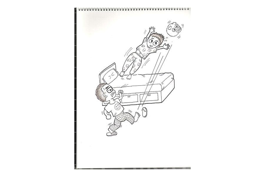 Albert畫的「射龍門」漫畫,展示臨睡前與兒子玩的遊戲。(受訪者提供)