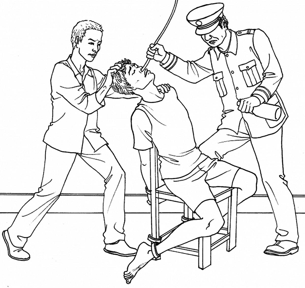 酷刑示意圖:法輪功學員被強灌精神病藥物迫害。(明慧網)