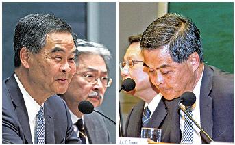 特首梁振英在昨日記者會期間,面對傳媒尖銳提問仍笑臉迎人(左),但臨結束前突然作狀哽咽( 右),但未見眼淚。( 潘在殊/大紀元)