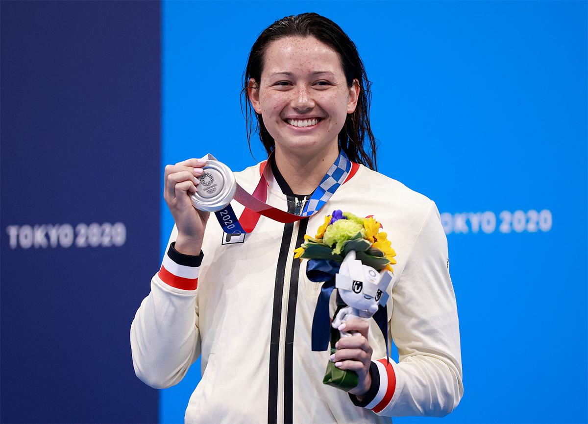 東奧昨日舉行第八天賽事,香港「女飛魚」何詩蓓200米自由泳奪得銀牌。(ODD ANDERSEN/AFP/Getty Images)
