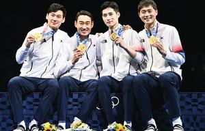 韓男團佩劍45:26擊敗意大利 四子齊獲金牌