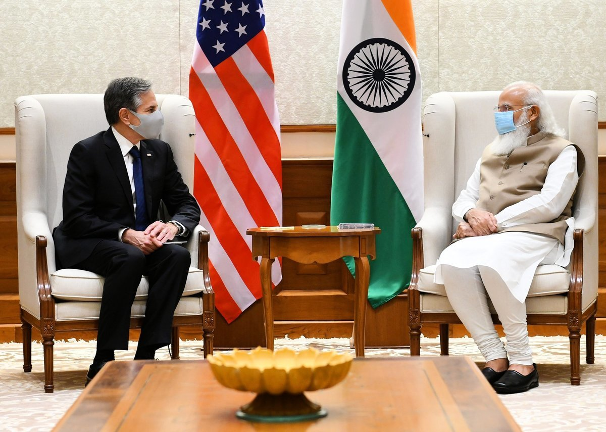 美國國務卿布林肯7月28日與印度總理莫迪在新德里會談。莫迪歡迎拜登政府對加強印美戰略夥伴關係的堅定承諾,他表示,這種植根於兩國共同的民主價值觀是一股造福全球的力量。(莫迪官網)