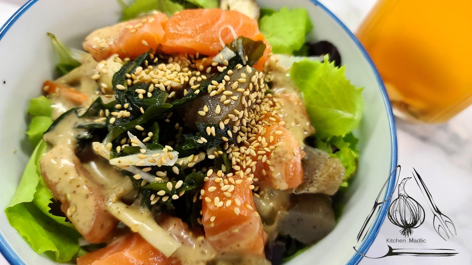 三文魚日式昆布蒟蒻沙律。(Kitchen Madlic提供)