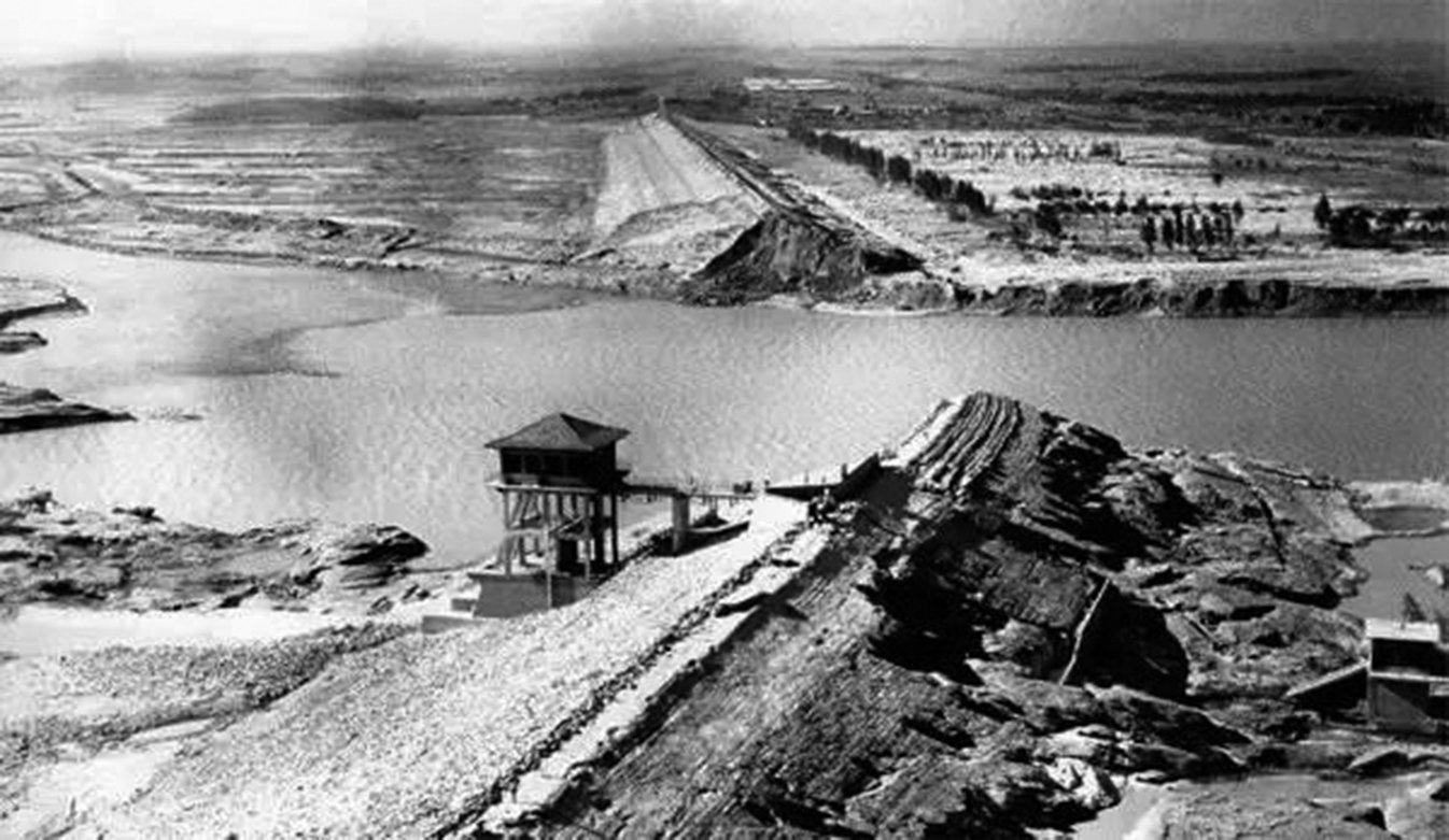 「七五八」豫南垮壩後的板橋水庫。(網絡圖片)