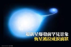 超新星爆發前罕見景象:恆星被拉成淚滴狀