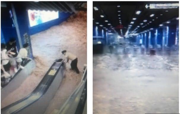 7月30日中午,廣州地鐵21號綫進水,水勢洶湧。(視頻截圖組合)