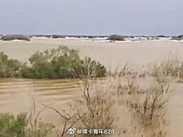 新疆塔克拉瑪干沙漠現洪災