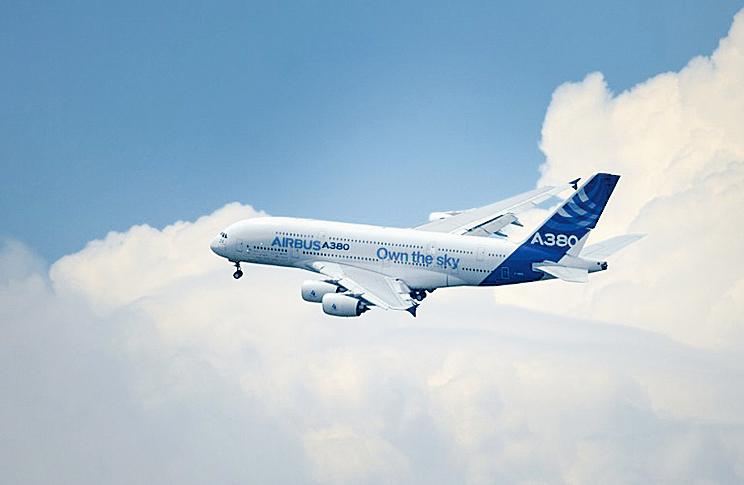 圖為空中巴士公司的A380飛機。(AFP)