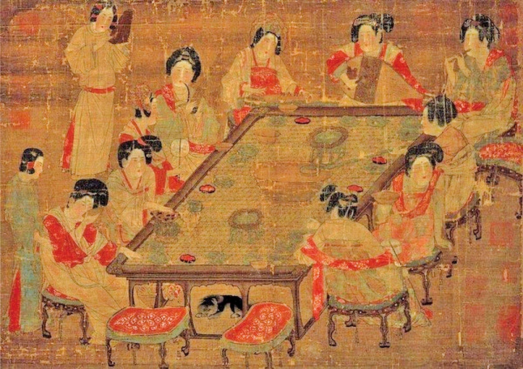 〈唐朝宮樂圖〉,現藏台北故宮博物院(公有領域)