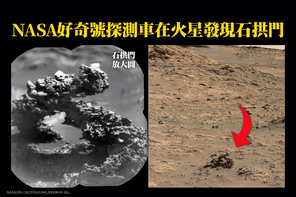 火星漫遊車好奇號在火星蓋爾坑內發現的石拱門。左圖為放大圖。(NASA/JPL-Caltech/LANL/Kevin M. Gill)
