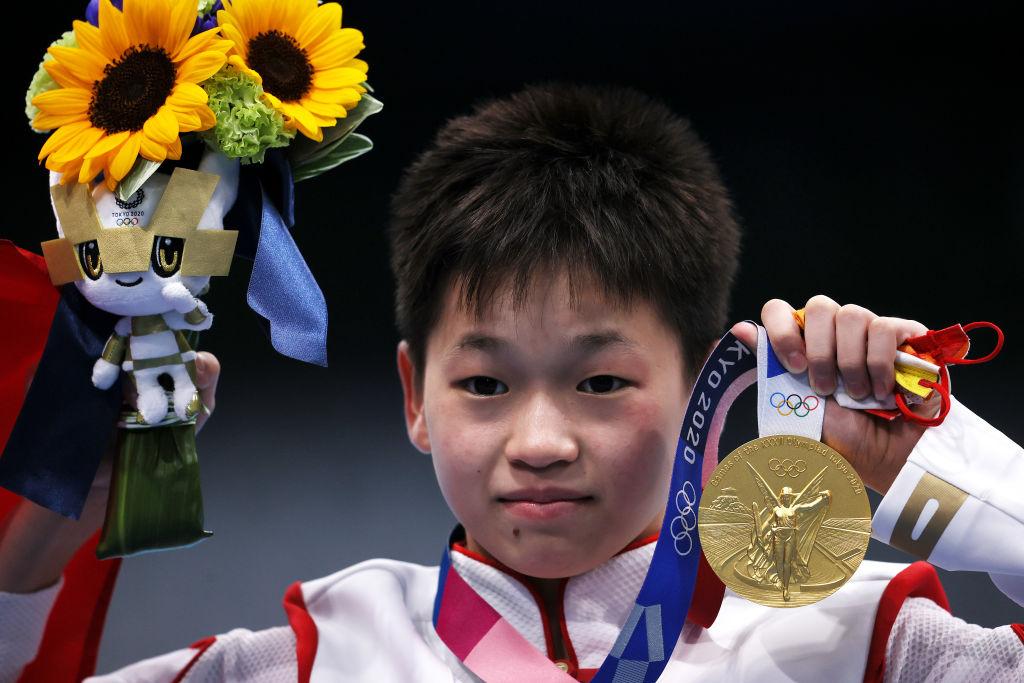 中國14歲的全紅嬋,8月5日在東京奧運跳水女子10米跳台項目中奪下金牌。(Tom Pennington/Getty Images)