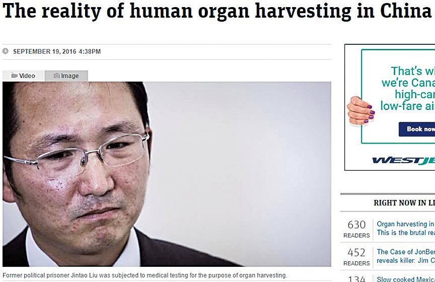 9月19日,澳洲新聞網報道:中共盜取人體器官的現實。(網絡擷圖)