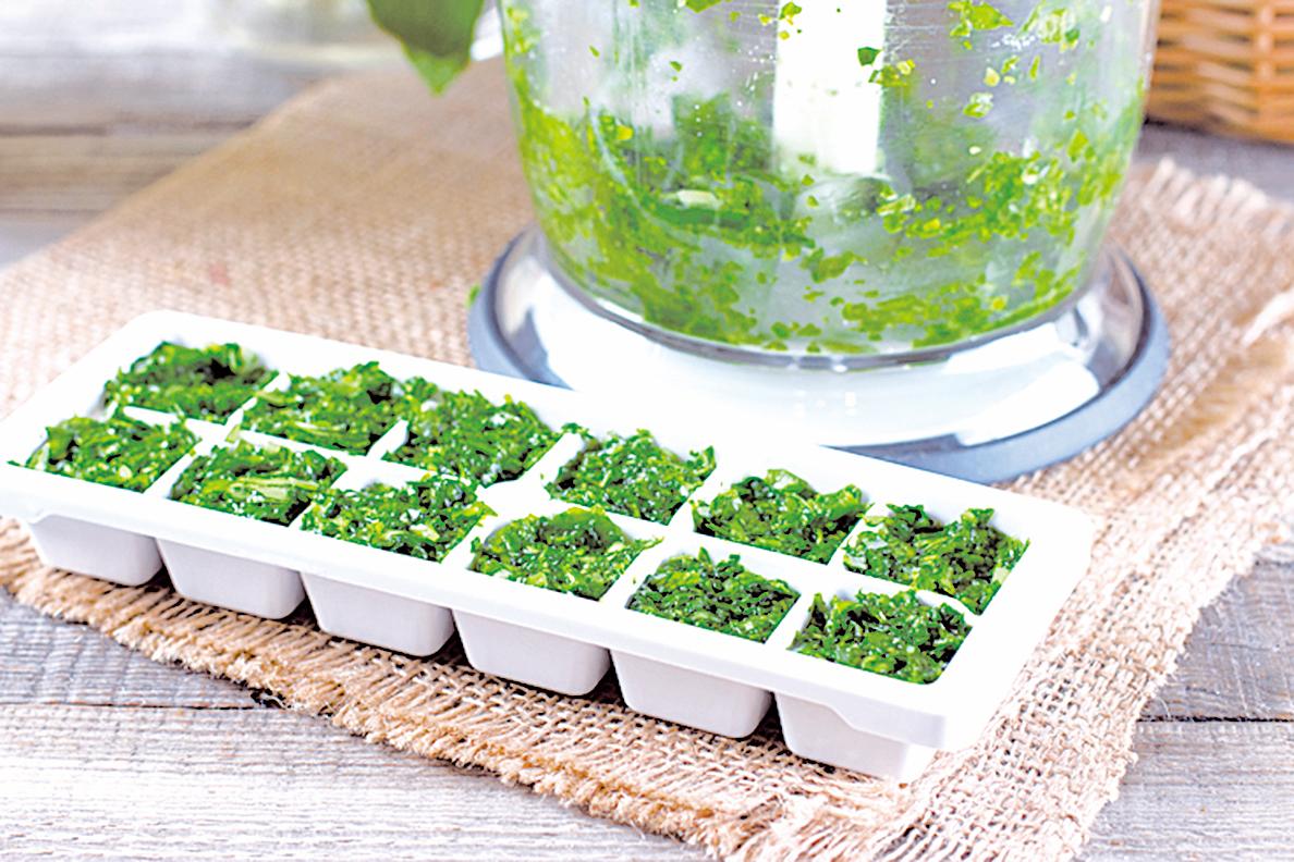 香草攪碎後分裝在製冰盒內,再放入冷凍室。