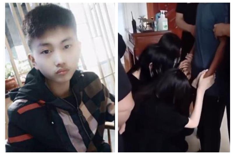 左為韓興博,右為三位女孩在追悼會上哭泣著向韓興博父親跪謝。(大紀元合成圖片)