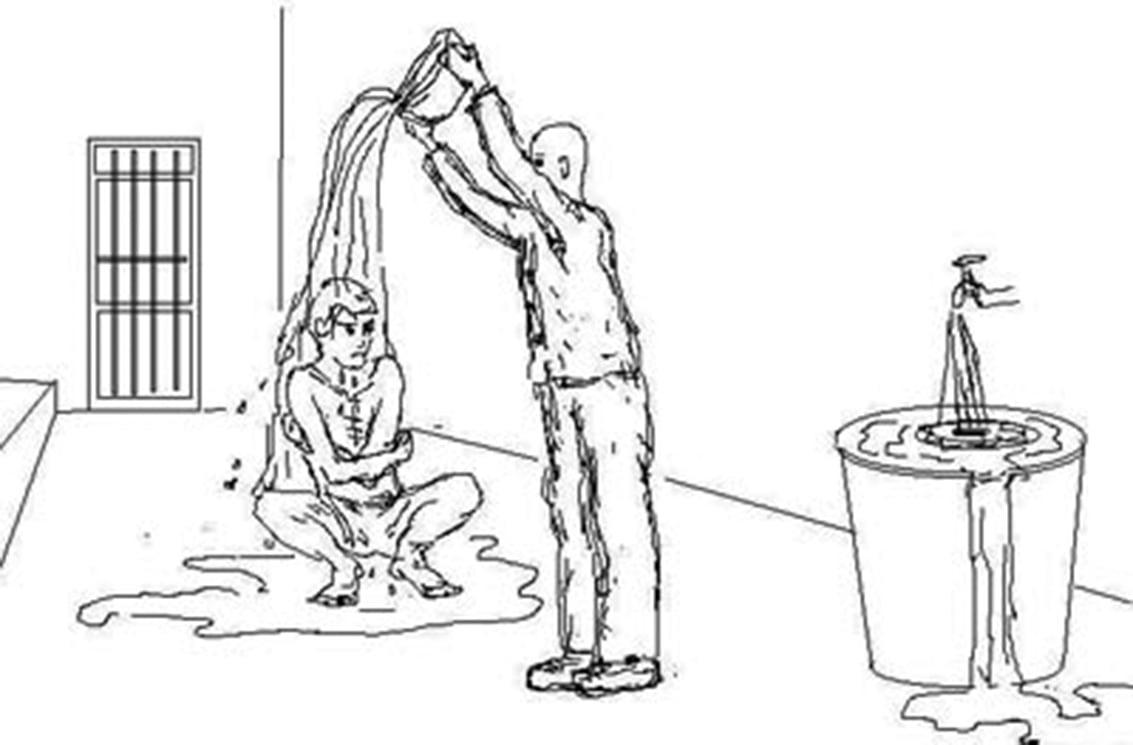 酷刑示意圖:澆涼水。(明慧網)