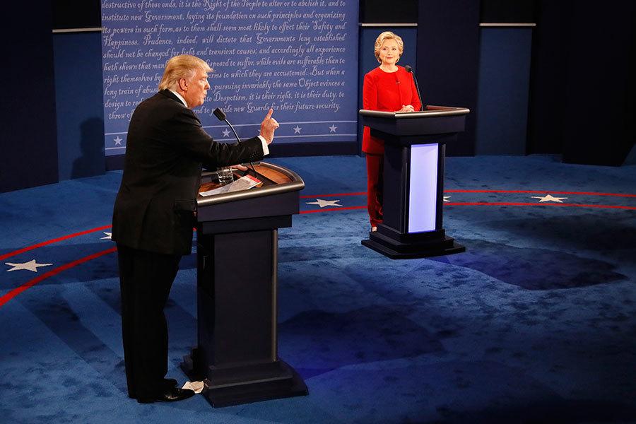 9月26日,特朗普與希拉莉首場電視辯論會在紐約約霍夫斯特拉大學登場。(Getty Images)